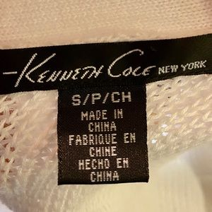 Kenneth Cole Sweaters - White Knit, Ribbed and Fitted V-Neck Cardigan Top